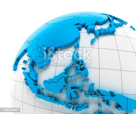 istock Globe of Southeast Asia with national borders, clipping paths provided 183254657