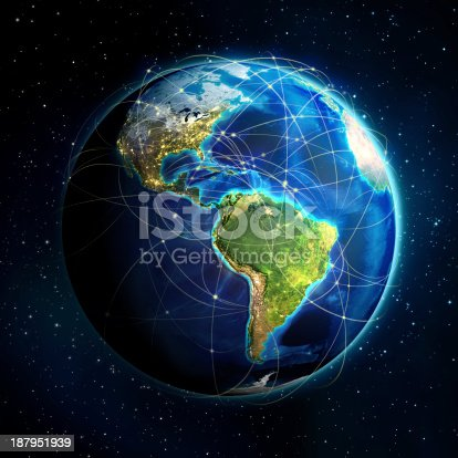istock 3D globe of the Americas with flight routes 187951939