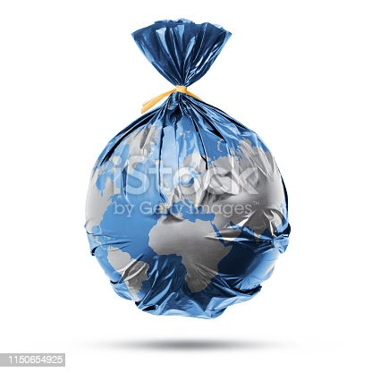 Globe of the earth in a plastic black bag like trash on white background.