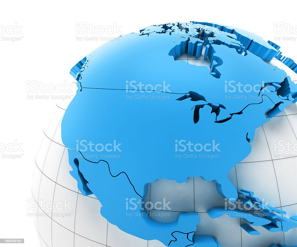 Globe of USA with national borders, two clipping paths provided stock photo