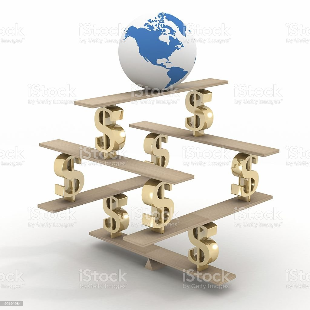 globe on a financial pyramid. 3D image. stock photo