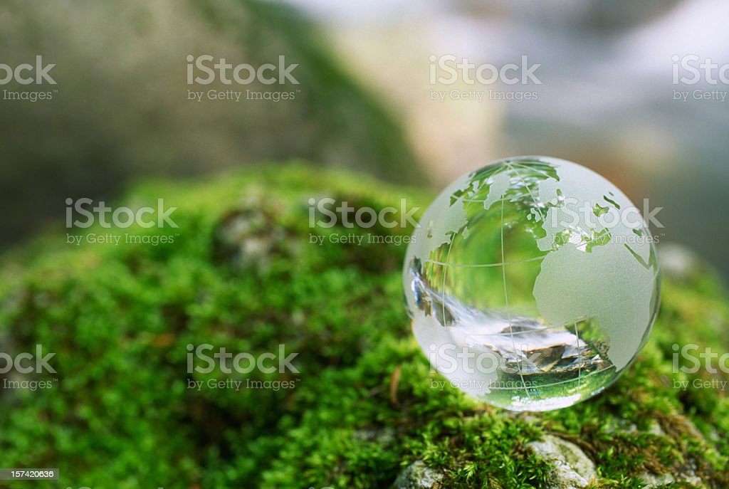 Globe on a moss rock royalty-free stock photo