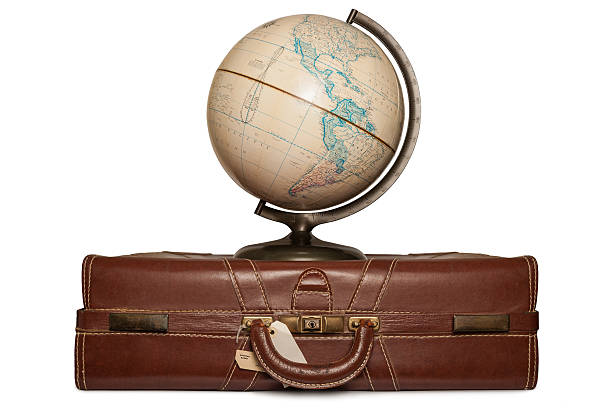 Globe on a suitcase stock photo