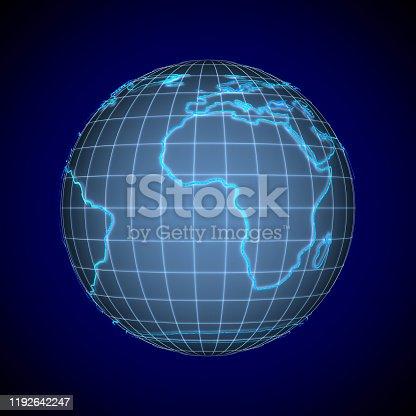 817002182 istock photo globe on blue background. Isolated 3D illustration 1192642247