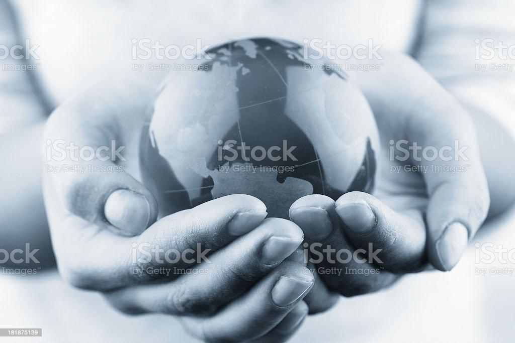 Globe on hand royalty-free stock photo