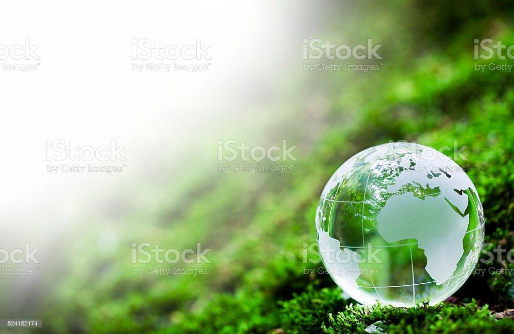 Globe on Mossy Rock stock photo