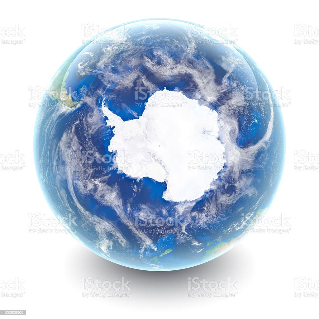 Globe on white - Antartica with white studio reflections stock photo