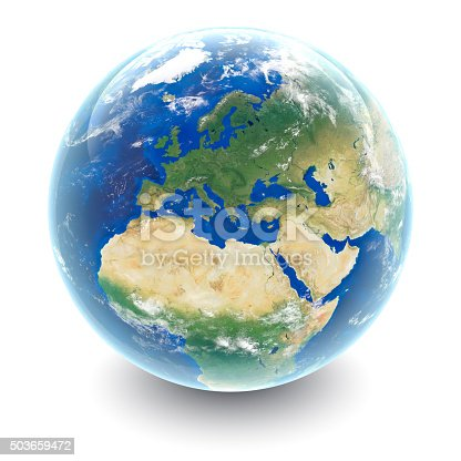 istock Globe on white - Europe with white studio reflections 503659472