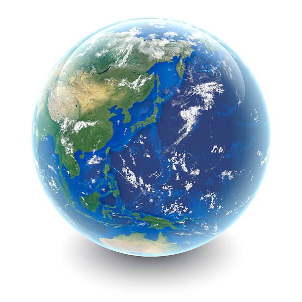世界中にホワイトの日本に白のスタジオの反射 - 地球 日本 ストックフォトと画像