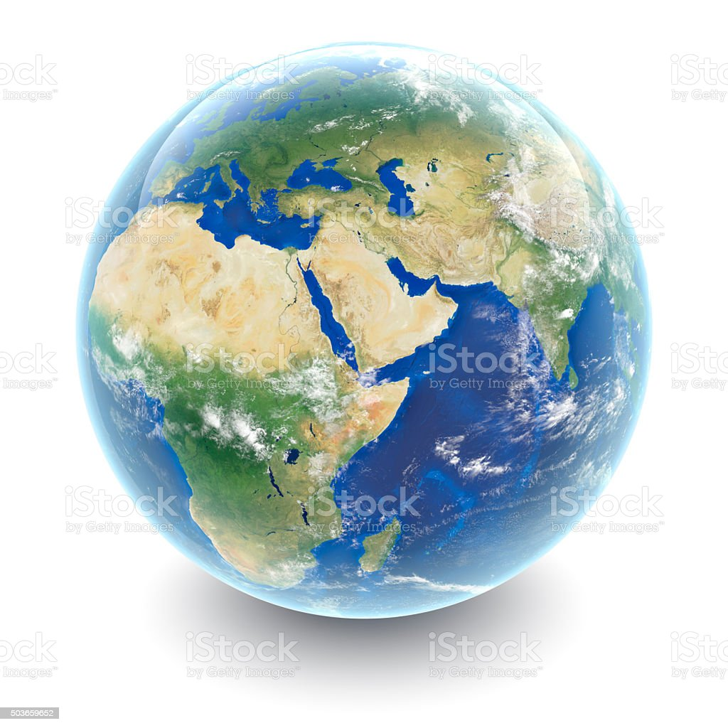 Globe on white - Middle East with white studio reflections stock photo
