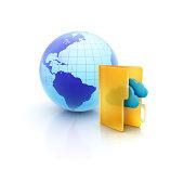 istock Globe or internet with Cloud computing folder icon 173750270