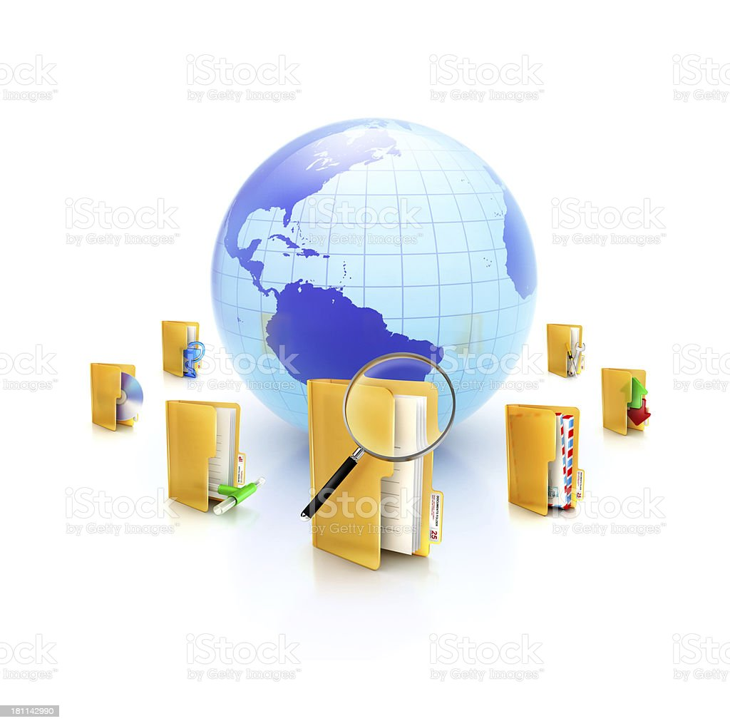Globe or internet with different folder icons and tasks around royalty-free stock photo