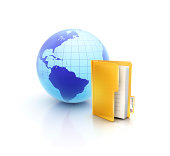 istock Globe or internet with glossy files and documets folder icon 465607819