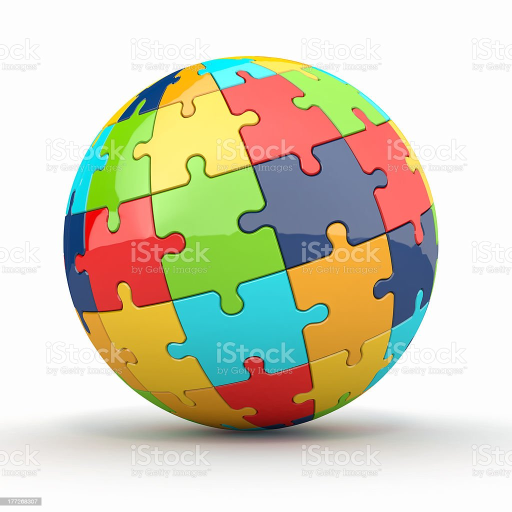 Globe or sphere from puzzles on white background royalty-free stock photo