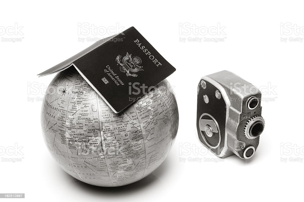 Globe, passport and camera for travel concept royalty-free stock photo