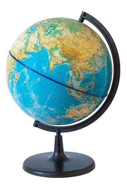 Globe. Physical map. Eastern hemisphere Physical map of the world. Globe. Photo taken during the day when natural light. Map in Russian language. equator stock pictures, royalty-free photos & images