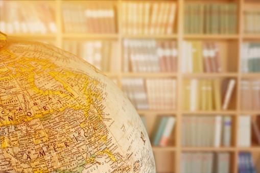 Vintage globe isolated on background