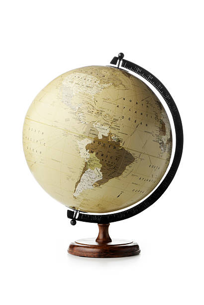 """Globe """"Vintage look desktop globe showing the Americas, isolated on white. Other picture with the same globe..."""" globe navigational equipment stock pictures, royalty-free photos & images"""