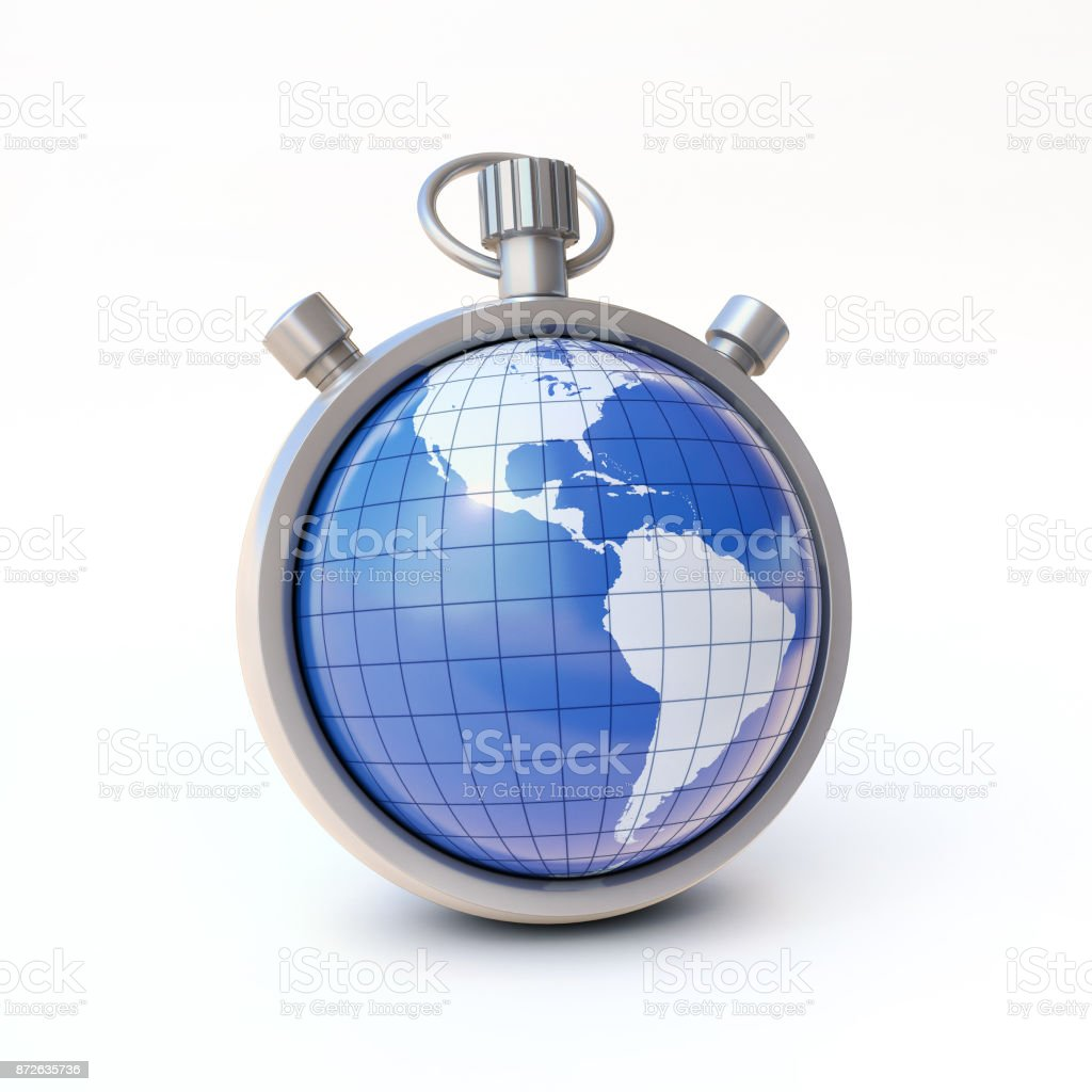 Globe, planet Earth on stopwatch, environment or world time concept  on a white background 3d rendering stock photo