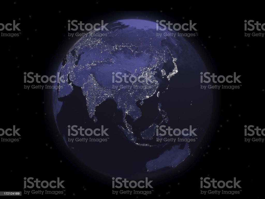 Globe Series: Night - Eastern Asia stock photo