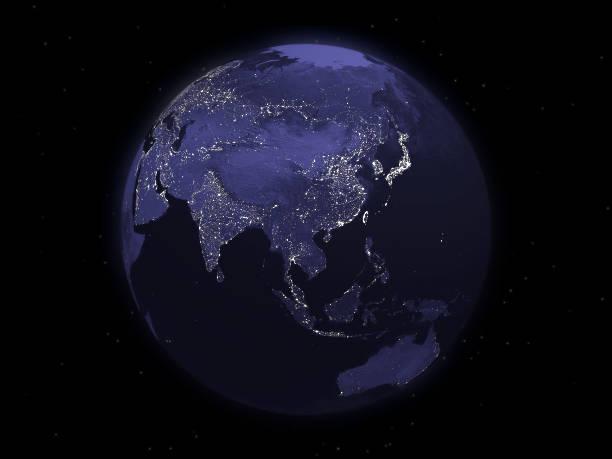globe series: night - eastern asia - 亞太地區 個照片及圖片檔
