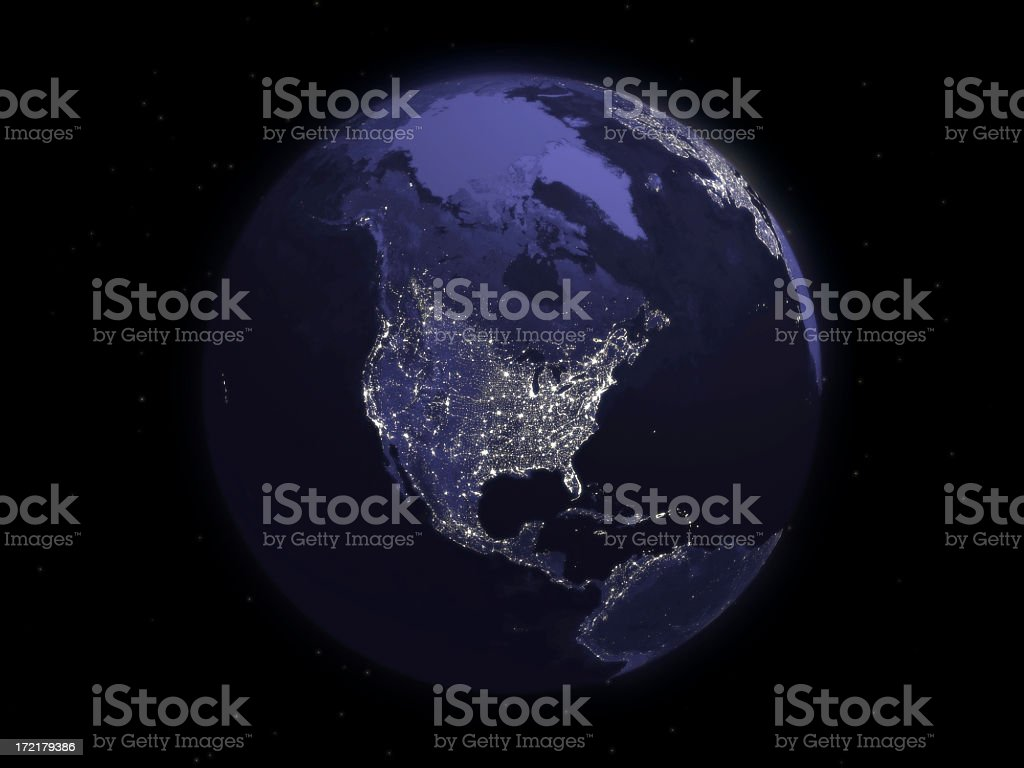 Globe Series: Night - North America stock photo