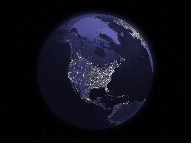globe series: night - north america - north america stock photos and pictures
