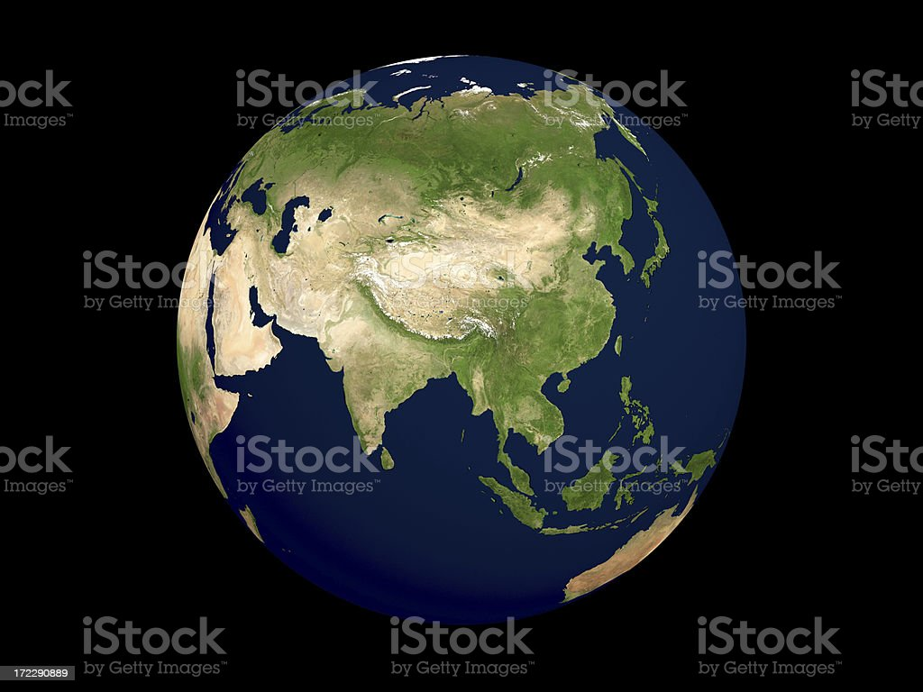 Globe Series: Physical I - Eastern Asia (Isolated) royalty-free stock photo