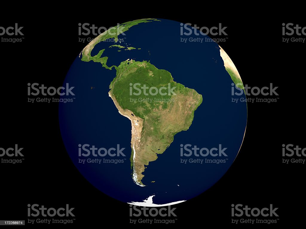 Globe serie: Físico I-South America (con trazado de recorte - foto de stock