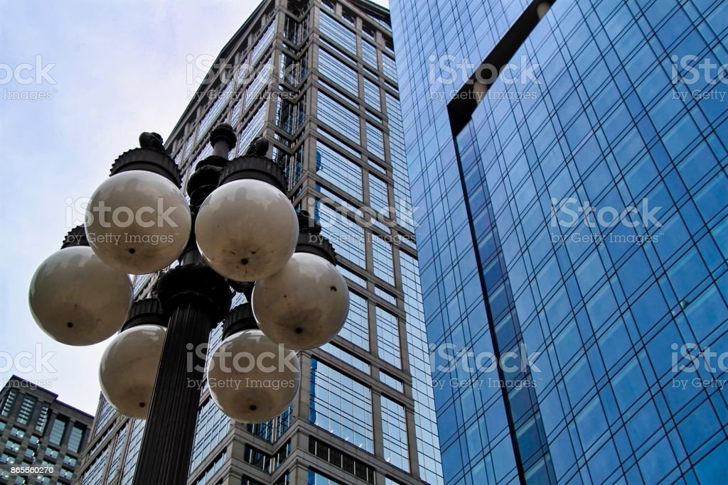 Globe shaped lightbulbs on Chicago city street stock photo