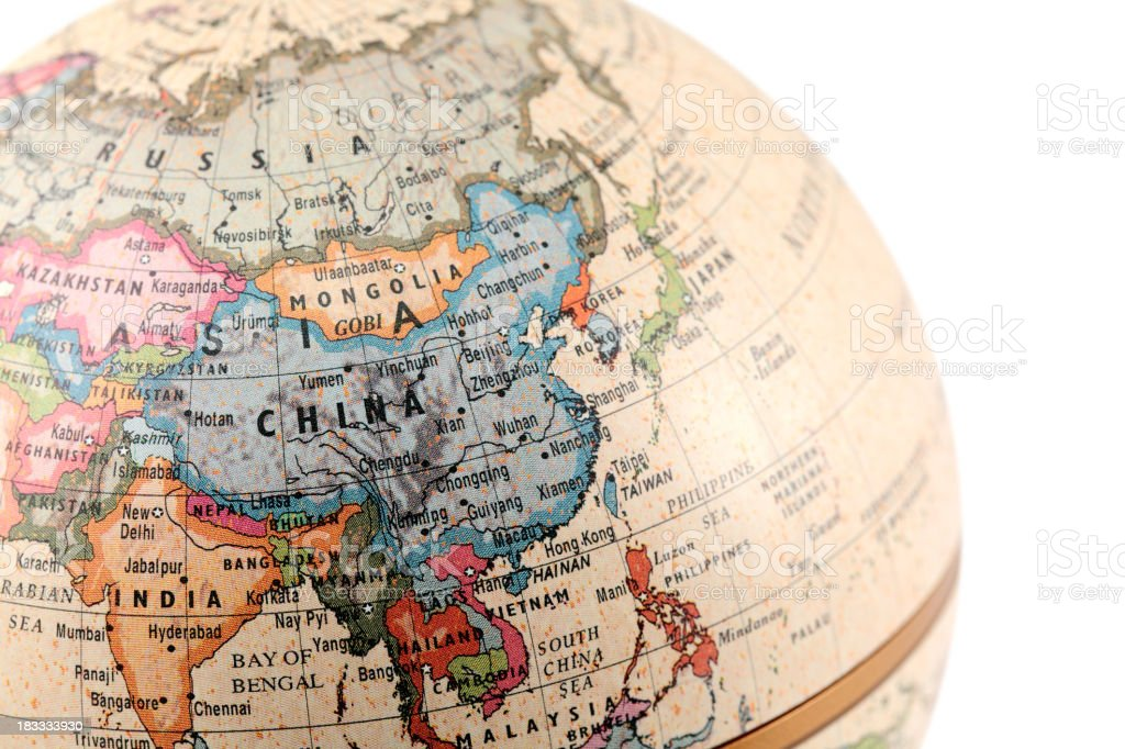 Globe showing Asia with clipping paths stock photo