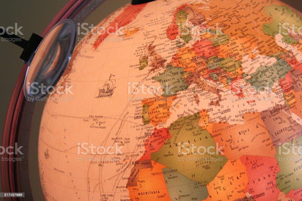 globe showing Europe stock photo