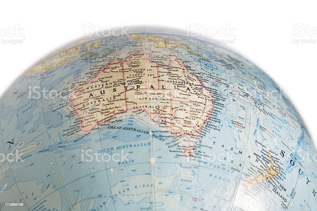 Australia Map Globe.Globe Showing Map Of Australia And New Zealand Stock Photo