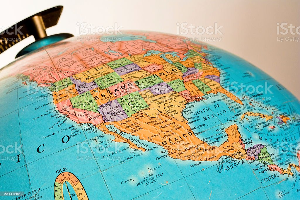 Globe showing Mexico and USA stock photo
