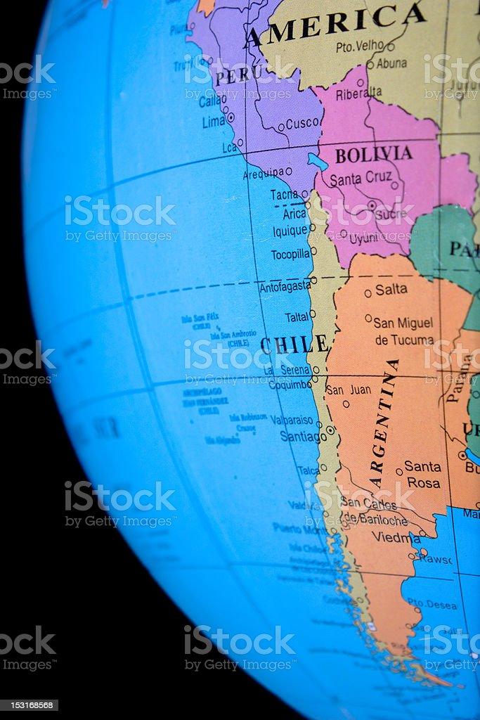 Globe - South America, Argentina royalty-free stock photo