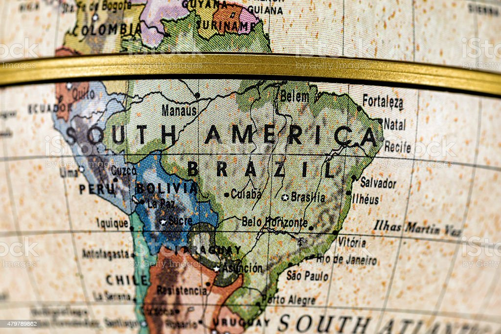 Globe South America stock photo