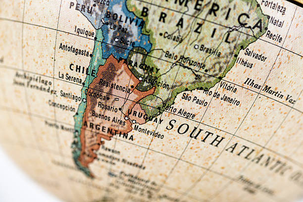 Globe South America Close-up of Argentina in the colorful world map. latin america map stock pictures, royalty-free photos & images