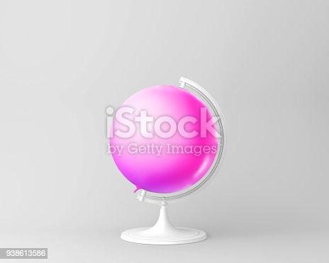 903520476 istock photo Globe sphere orb bright balloon pink. minimal idea concept. 938613586