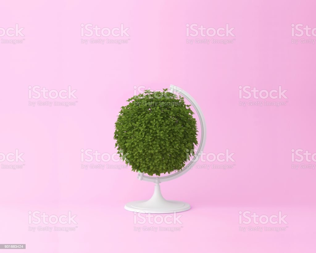 Globe sphere orb plant concept on pastel pink background. minimal idea nature. An idea creative to artwork design or World environment day concept stock photo