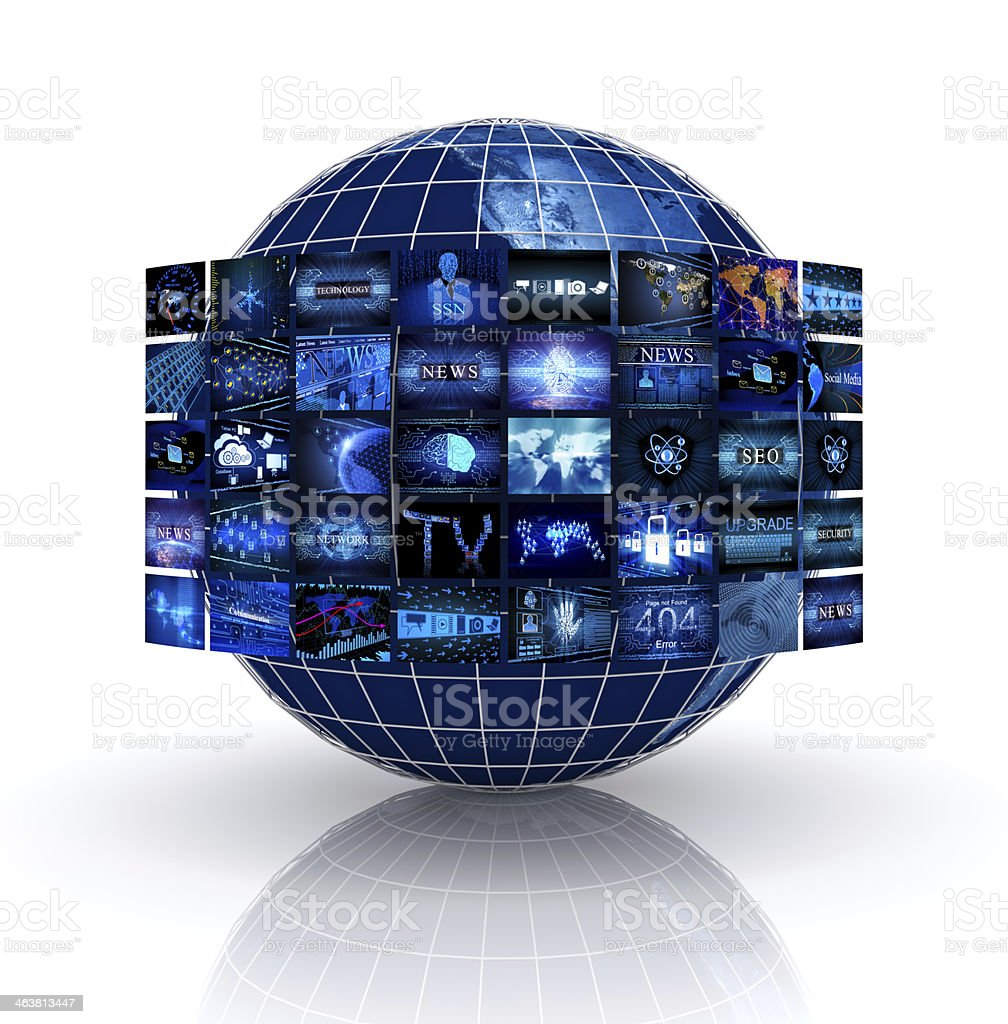 A globe surrounded by televisions royalty-free stock photo