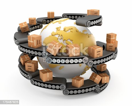 Conveyor belts carrying freight boxes around the world. Global transportation concept. Similar images: