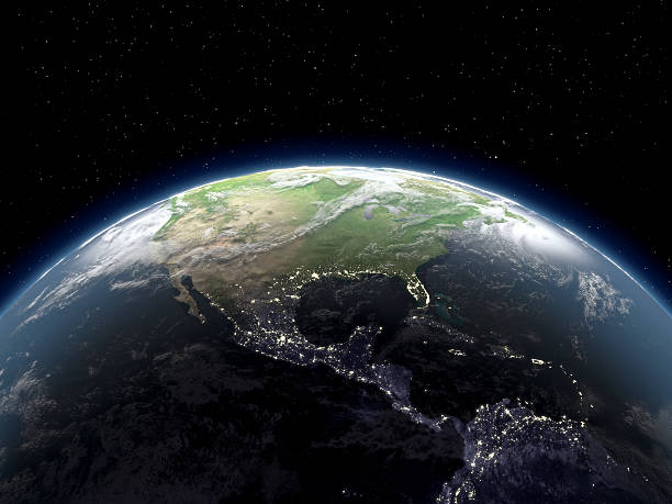 Globe Viewing From Space Photorealistic globe with lots of details.  satellite view stock pictures, royalty-free photos & images