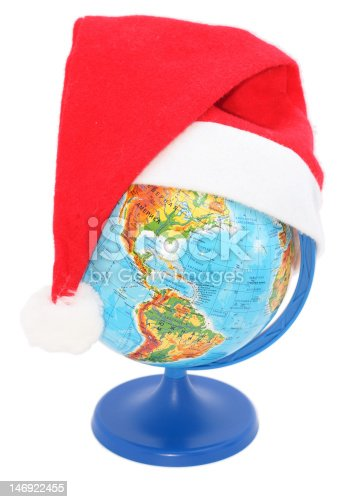 globe wearing a Santa Claus hat