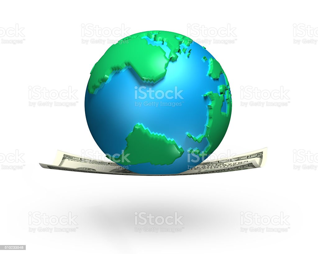 Globe With 3d World Map On Money Flying Carpet Stock Photo More