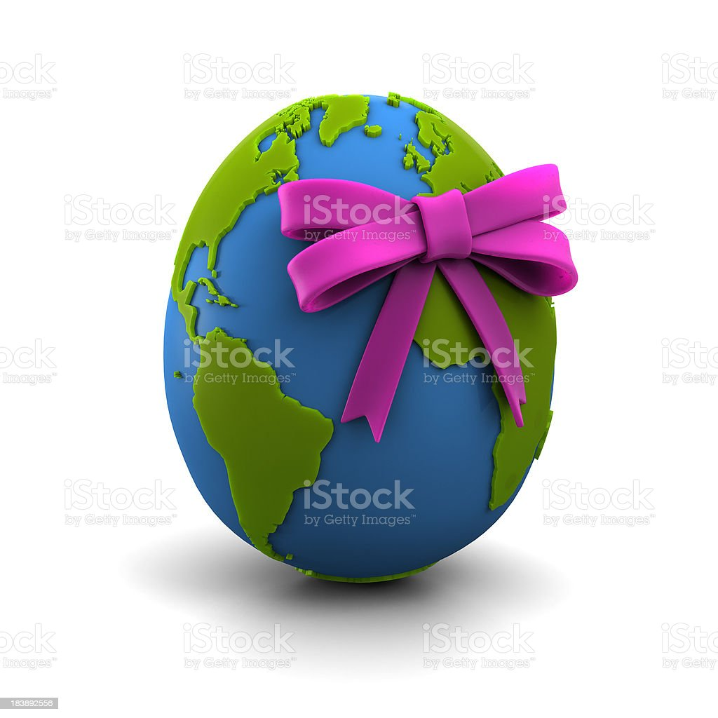 Globe with Bow in Egg/Oval Shape stock photo