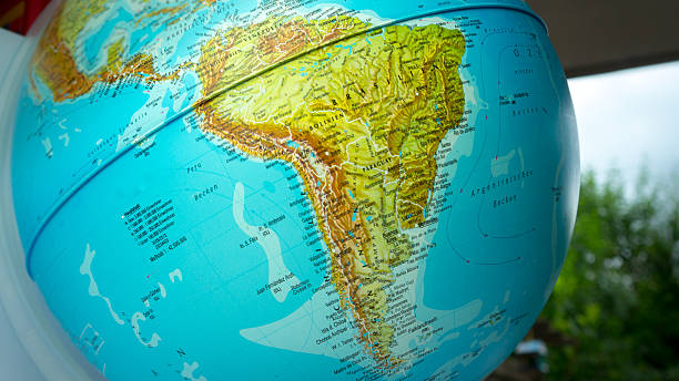 Globe with Brazil and South America stock photo