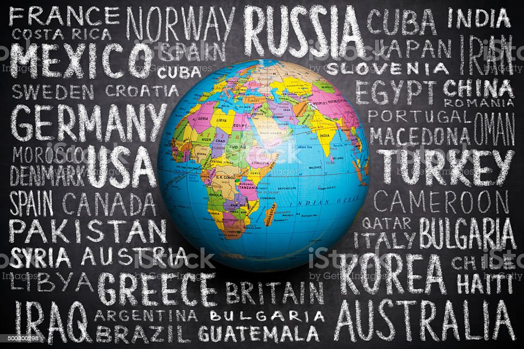 Globe with  countries in word cloud stock photo