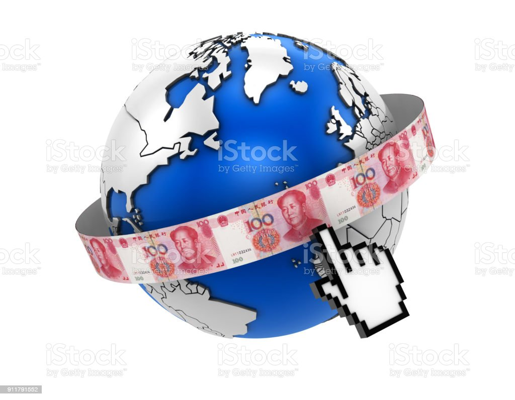 Globe with cursor and Yuan Bill stock photo