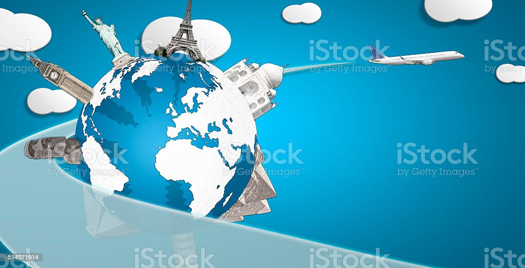 Globe with drawn monuments and plane horizontal composition stock photo