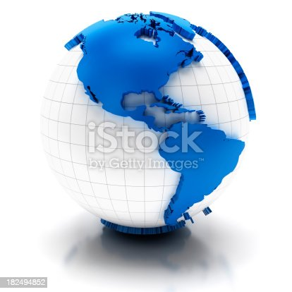 186019678istockphoto Globe with extruded map of america, clipping path provided 182494852